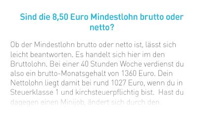 Sind die 8,50 Euro Mindestlohn brutto oder netto?